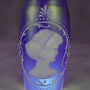 Beautiful Cobalt Enameled Vase - Art Glass