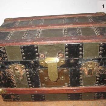 Antique Doll Trunk Brass Trim - Furniture