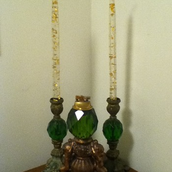 Table Lighter w/ Candle Stick Holders - Tobacciana