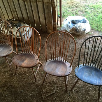Slovenian Brace Back Spindle Chairs