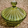 Candy Dish Green Stripped HFM stamping on lid and main dish