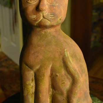 Large Terracotta Cat - Mexico? MCM? - Pottery
