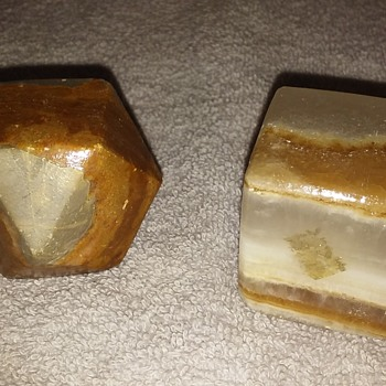 two stone (onyx?) paperweights - Office