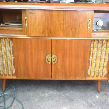 German antique stereo council with bottle holder