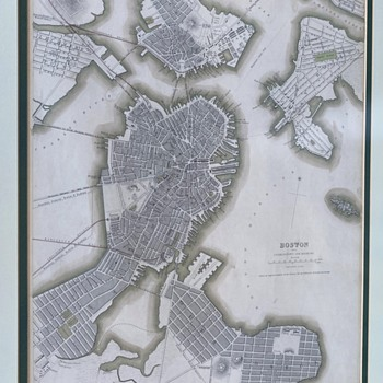 1842 Map of Boston with Roxbury and Charlestown - Paper