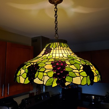 """30"""" antique leaded glass hanging fixture Signed Full Provenance - Lamps"""