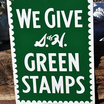2-sided Porcelain Green Stamps Sign - Signs