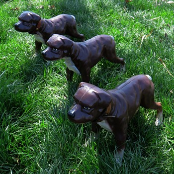 "Three Vintage Cast Iron Staffordshire ""Staffy"" Terriers - Animals"