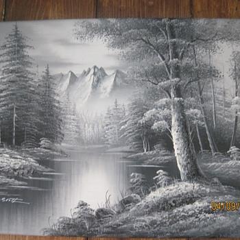 2 M. Scott Black and White Paintings