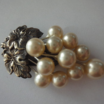 Early Twenties Pearl Dress Clip set in copper  - Costume Jewelry