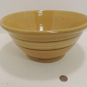 Three Yellow Ware Bowls