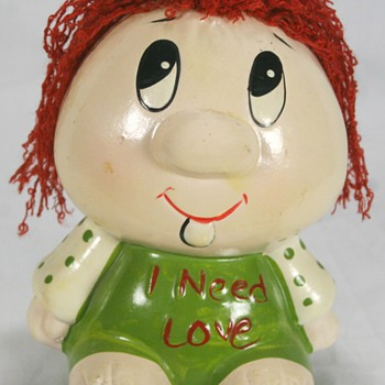 "Cute Vintage Piggy Bank ""I Need Love"" - Coin Operated"