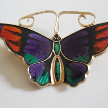 David - Andersen Guilloche Butterfly Brooch - Fine Jewelry