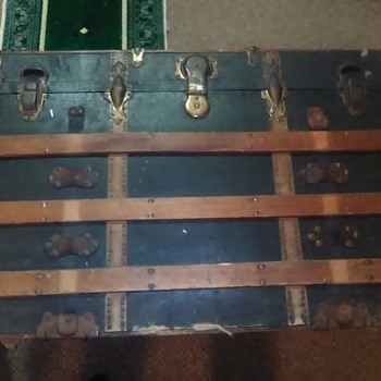 large antique travel trunk  G24.  - Furniture