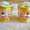 Vintage Yellow winking Kitty Cat Salt & Pepper Shakers