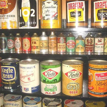 Gallon beer cans & foreign conetops - Breweriana
