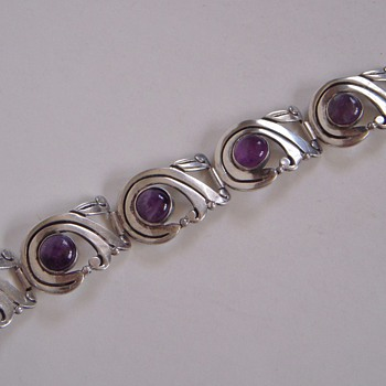 Sterling & Amethyst Bracelet made in Mexico~Unreadable Signature - Fine Jewelry