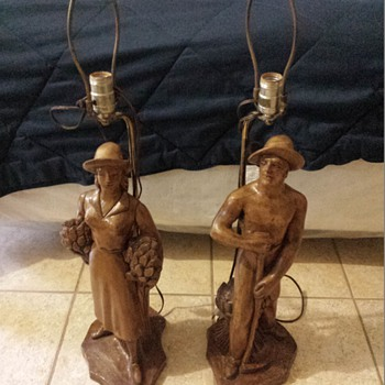 Wooden Farmers Lamp Set