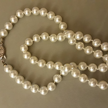 String of Cultured White Pearls, with a 14kt White Gold Fishhook Closure - Fine Jewelry