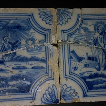 Two very old Delft biblical scene  tin glazed tiles - Pottery