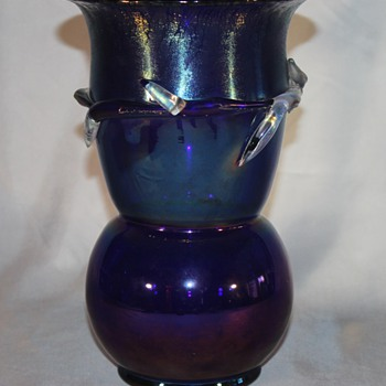Large Oilspot Blue Vase with Clear Applications - Art Glass