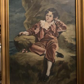 Antique Child Portrait Painting on Canvas  - Fine Art