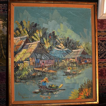 Mid Century Thai Painting - landscape with heavy impasto - Kitilerk Muhummad - Fine Art