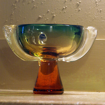 Art Deco Murano Pedestal bowl Flavio Poli - Art Glass