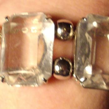 Large Emerald cut crystal bracelet. - Costume Jewelry