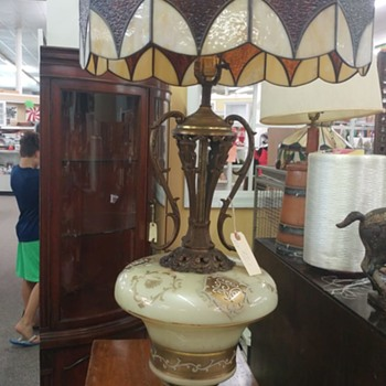 Interesting stained glass lamp and pedestal - Lamps