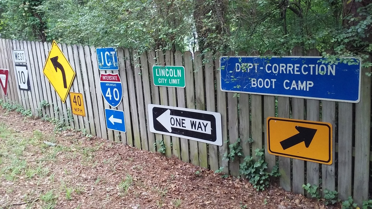 my 'outside' display of road signs | Collectors Weekly