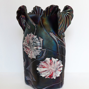 Large Pallme König Applied Flower Vase - Art Glass