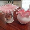 Fenton peach crest vases