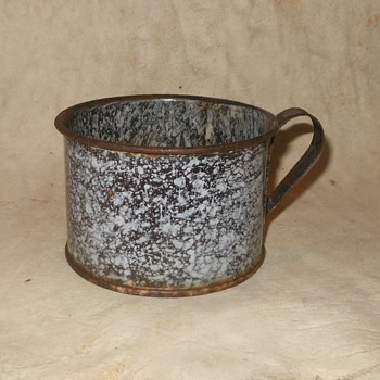 Antique Graniteware Cowboy Coffee Cup Brown and White - Kitchen