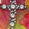 Victorian paste cross brooch
