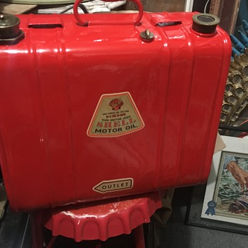 I'm told it's a 1930s gas duo oil can.  - Petroliana