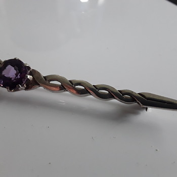Amethyst Sterling Silver kilt pin. no 20 - Fine Jewelry