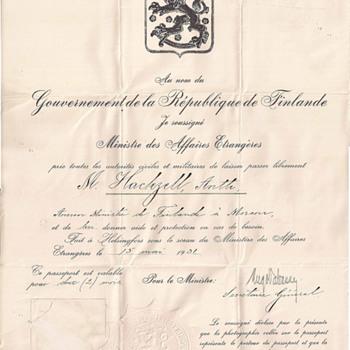 Finland Diplomatic passport - Antti Hackzell - Paper