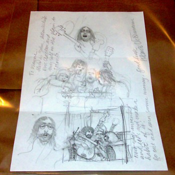Klaus Voormann Original Drawing/Beatles related - Music Memorabilia