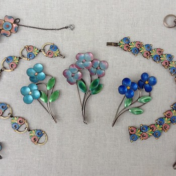 Bernard Instone Silver and Enamel Brooches and Bracelets - Art Deco