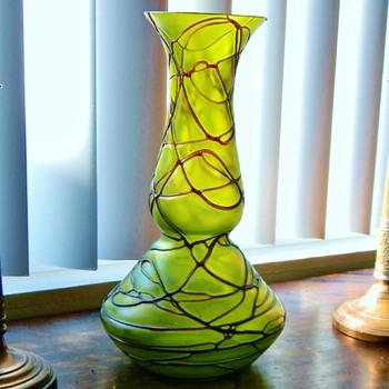 "Nouveau Bohemian Amethyst Thread Green Iridized Bulb Vase 12.75"" - Art Glass"