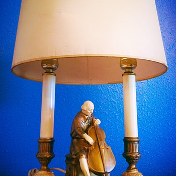 "Signed J.B. HIRSCH/MOREAU Art Deco ""The Cellist"" Lamp w/Original Shade - Lamps"