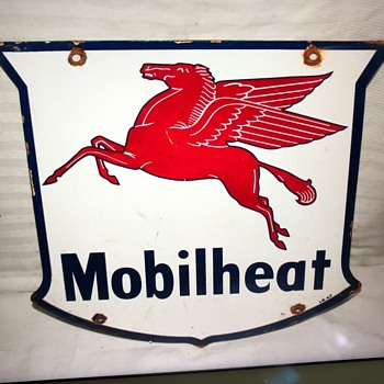 Porcelain Mobil sign dated 1947 ?  Repro is what it is . - Petroliana
