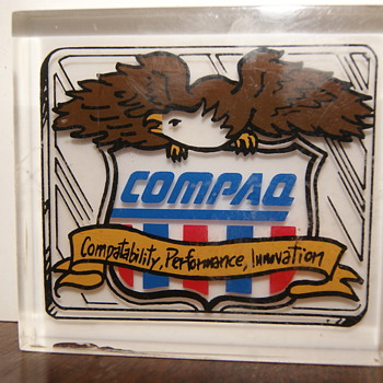 Unknown Paperweights Whammo & Compaq From paperweight Company Kansas.Samples that didn't cut it - Advertising