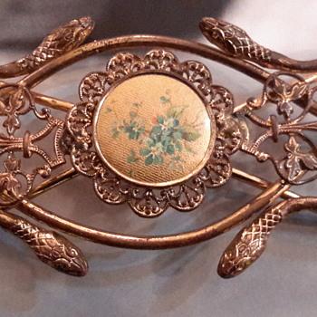 Art nouveau brass gilt serpent belt buckle