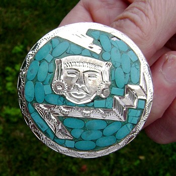 Mexican Silver and Turquoise Brooch - Fine Jewelry