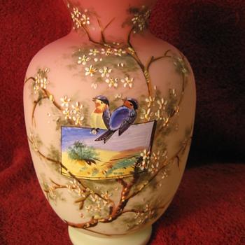 Harrach? Enameled Uranium Peach Satin Vase   - Art Glass