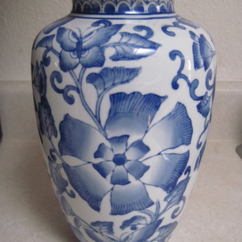 Need ID Help For Blue & White Vase with Flower Design - Pottery