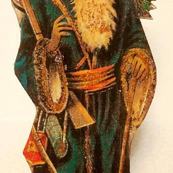 C 1900 Dresden Cutout Cardboard Blue Coat Santa Claus Figure - Christmas