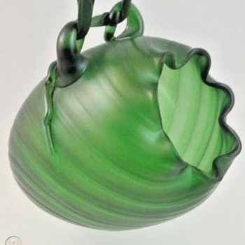 Hanging Bohemian Green Iridescent Art Nouveau Vase - Art Glass